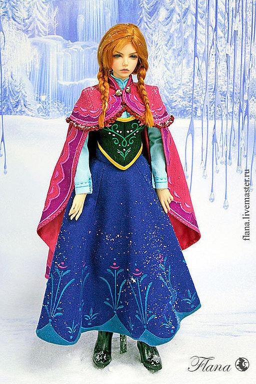Одежда для кукол ручной работы. анна (Холодное сердце), индивидуальный пошив. Флана