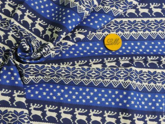 Шитье ручной работы. Ярмарка Мастеров - ручная работа. Купить ткань лен хлопок Олени синий. Handmade. Ткань лен