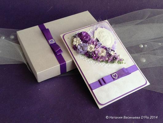 Свадебная открытка с коробочкой для денежного подарка в сиренево-фиолетовой гамме. Авторская ручная работа Наталии Васильевой D`Flo