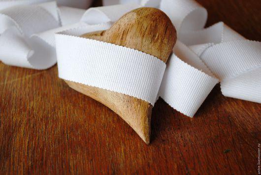 """Шитье ручной работы. Ярмарка Мастеров - ручная работа. Купить Репсовая лента 100% хлопок """"Белый"""" (Италия) 2 РАЗМЕРА. Handmade."""