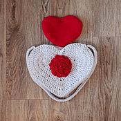 """Классическая сумка ручной работы. Ярмарка Мастеров - ручная работа Сумка """"Сердце с цветком"""" и косметичка. Handmade."""