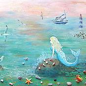 Картины и панно handmade. Livemaster - original item Oil painting mermaid in the blue sea of heaven.