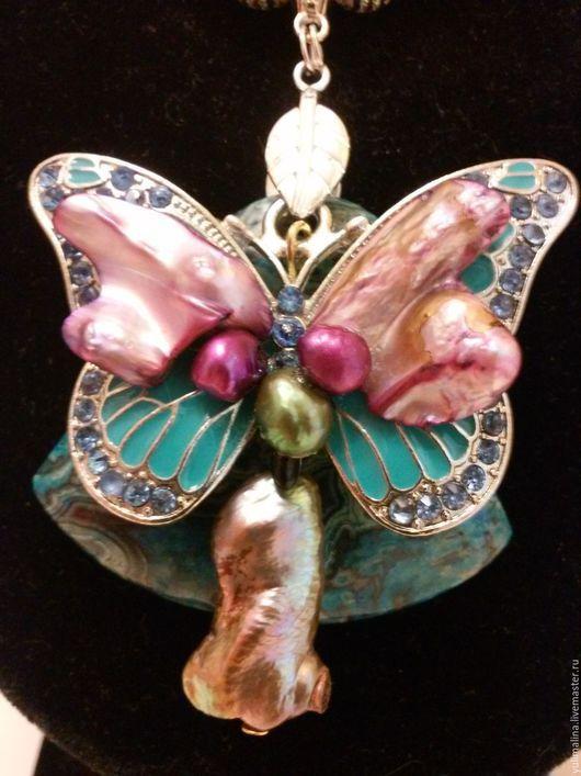Колье, бусы ручной работы. Ярмарка Мастеров - ручная работа. Купить Колье Butterfly. Handmade. Морская волна, жемчуг натуральный