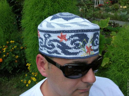 """Для мужчин, ручной работы. Ярмарка Мастеров - ручная работа. Купить Шапка """"Лагуна"""". Handmade. Комбинированный, шапка на осень"""