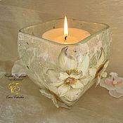 Для дома и интерьера handmade. Livemaster - original item Candlestick,White flowers, candle holder glass. Handmade.