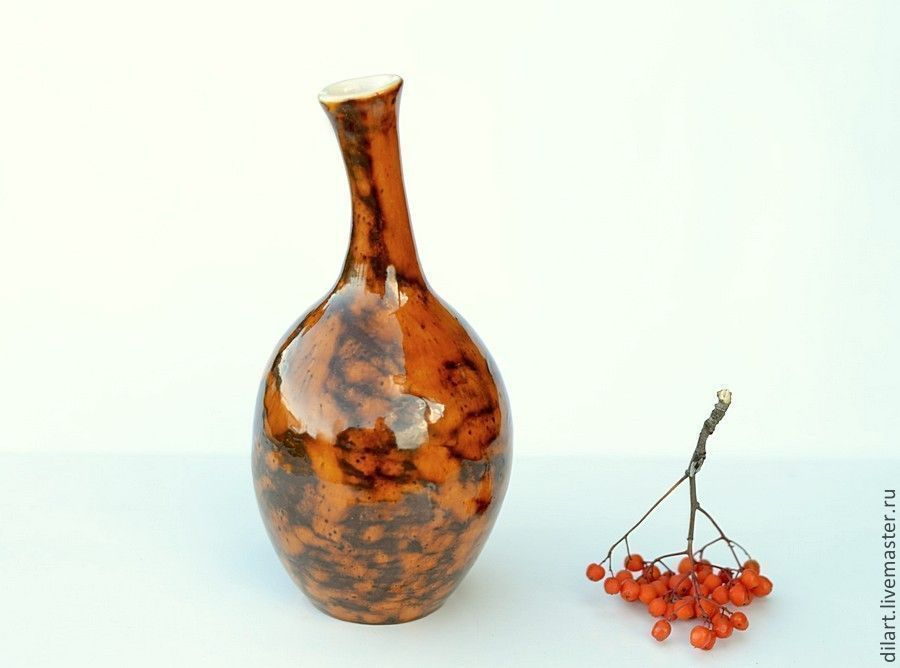 Ваза бутылка керамическая Солнцепоклонник