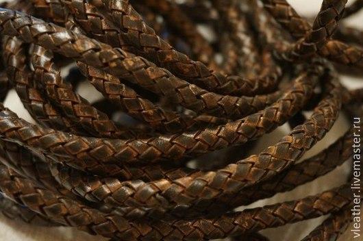 Для украшений ручной работы. Ярмарка Мастеров - ручная работа. Купить Плетёный боло кожаный шнур 5 мм(Antiquary dark brown). Handmade.