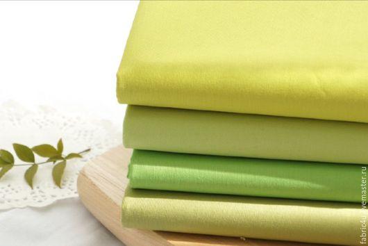 Шитье ручной работы. Ярмарка Мастеров - ручная работа. Купить Однотонный хлопок, зеленая гамма. Handmade. Зеленый, летние ткани