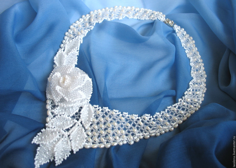Necklaces & Beads handmade. Livemaster - handmade. Buy necklace 'enchanted'.Rose, handmade flower, beads, pearl