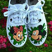 Обувь ручной работы. Ярмарка Мастеров - ручная работа Кеды Микки Маус и Минни. Handmade.