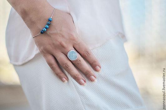 Браслеты ручной работы. Ярмарка Мастеров - ручная работа. Купить Серебряный браслет с голубыми агатами. Handmade. Голубой, голубой браслет