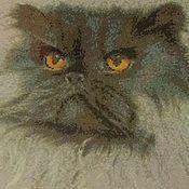 """Картины и панно ручной работы. Ярмарка Мастеров - ручная работа Вышитая картина """"Персидский кот"""". Handmade."""