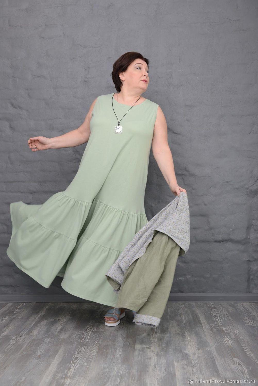 Sleeveless dress in cotton knit light green longline Art. 2342, Sundresses, Kirov,  Фото №1