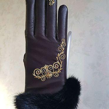 Аксессуары ручной работы. Ярмарка Мастеров - ручная работа Перчатки кожаные коричневые вышивкой и опушкой. Handmade.