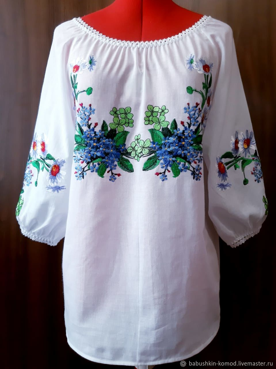 Women's embroidered blouse 'Spring bouquet' ZHR2-211, Blouses, Temryuk,  Фото №1