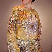 """Одежда ручной работы. Ярмарка Мастеров - ручная работа Шифоновая блузка """"Хризантемы"""". Handmade."""