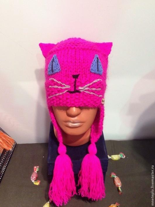 """Шапки ручной работы. Ярмарка Мастеров - ручная работа. Купить Шапка кошка """"Ярко-розовая""""( продана). Handmade. Розовый"""