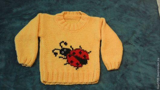 Одежда для девочек, ручной работы. Ярмарка Мастеров - ручная работа. Купить вязанный свитер длядевочки. Handmade. Желтый, рисунок