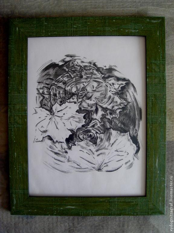 Fairy Tale Illustrations handmade. Livemaster - handmade. Buy schedule 'Maple leaf '.Black and white, autumn, rain