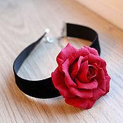 Украшения ручной работы. Ярмарка Мастеров - ручная работа Бархатка с красной розой. Handmade.