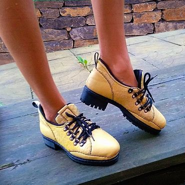 Footwear handmade. Livemaster - original item Shoes: Yellow shoes for women. Handmade.
