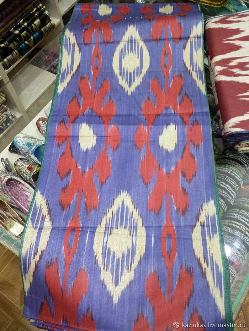 Uzbek cotton ikat hand weaving. FM064, Fabric, Odintsovo,  Фото №1