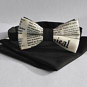 Аксессуары handmade. Livemaster - original item Tie from newspaper fabric solid black pocket square. Handmade.