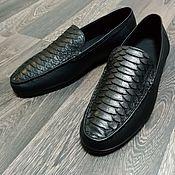 Обувь ручной работы handmade. Livemaster - original item Moccasins made of genuine Python leather and calfskin, in stock!. Handmade.