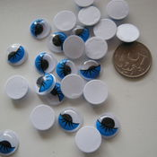 Материалы для творчества handmade. Livemaster - original item Eyes for toys with shifty eyes 12 mm blue lid pair. Handmade.