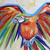 Картины и панно ручной работы. Ярмарка Мастеров - ручная работа Попугай Ара ( холст / масло ). Handmade.
