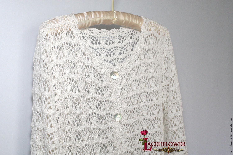 White Summer Crochet Coat Cardigan Lace Cotton Viscose Shop Online