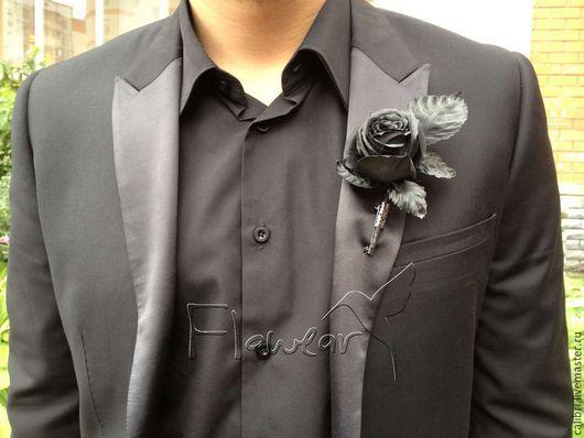 Цветы ручной работы. Ярмарка Мастеров - ручная работа. Купить Черная роза - бутоньерка мужская. Handmade. Бутоньерка для жениха