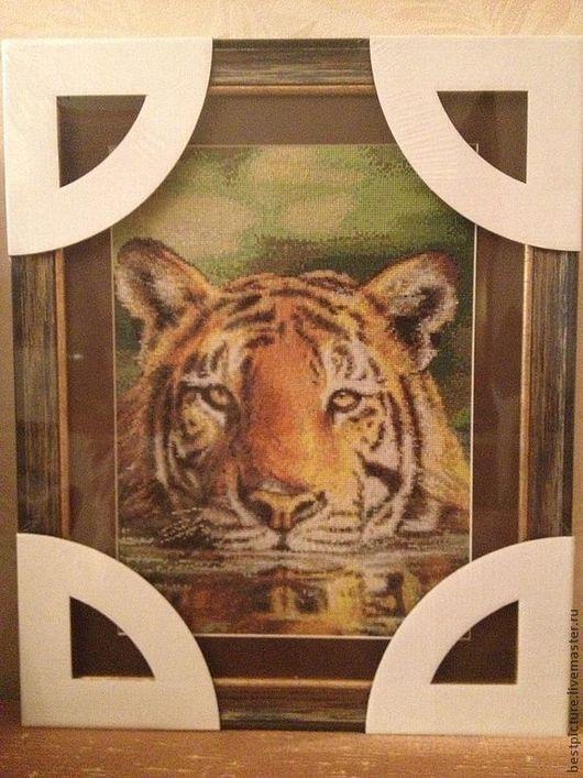 Животные ручной работы. Ярмарка Мастеров - ручная работа. Купить Тигр. Вышитая картина. Handmade. Вышитая картина, вышивка