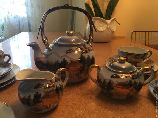 Винтажная посуда. Ярмарка Мастеров - ручная работа. Купить чайный сервиз. Handmade. Голубой, фарфор