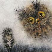 Картины и панно ручной работы. Ярмарка Мастеров - ручная работа Картина из шерсти Ежик в тумане с совой, с листком и улиткой. Handmade.