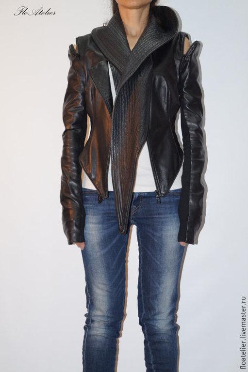 Верхняя одежда ручной работы. Ярмарка Мастеров - ручная работа. Купить Черная экстравагантая куртка/Куртка со съемными рукавами/F1342. Handmade.
