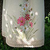 handmade. Livemaster - original item Skirts: Linen skirt with hand-painted Cosmea.. Handmade.