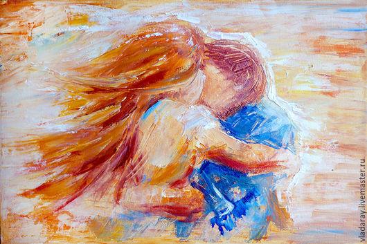 Картина маслом `Любовь..` 30x45 см  Доставка по всему миру авиа почтой бесплатно.  Картина - красивый подарок на день рождения, свадьбу, свадебный юбилей и другие праздники.