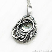 Украшения handmade. Livemaster - original item Aveta - Wire wrapped sterling silver pendant with green amethyst. Handmade.