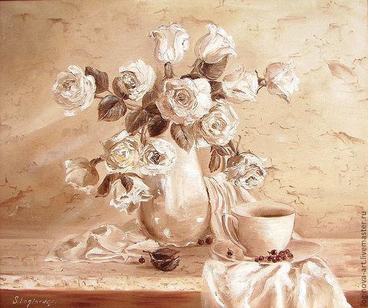 Картины цветов ручной работы. Ярмарка Мастеров - ручная работа. Купить Гризайль с белыми розами. Handmade. Белый, натюрморт с цветами