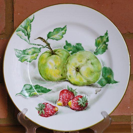 Декоративная посуда ручной работы. Ярмарка Мастеров - ручная работа. Купить Тарелка декоративная Яблоки. Handmade. Зеленый, тарелка в подарок