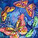 """Шарфы и шарфики ручной работы. Ярмарка Мастеров - ручная работа. Купить Платок """"Вальс под звездами"""". Handmade. Батик, бабочки"""