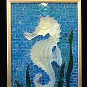 """Для дома и интерьера ручной работы. Ярмарка Мастеров - ручная работа Мозаичное панно """"Морской конек из хрусталя"""". Handmade."""
