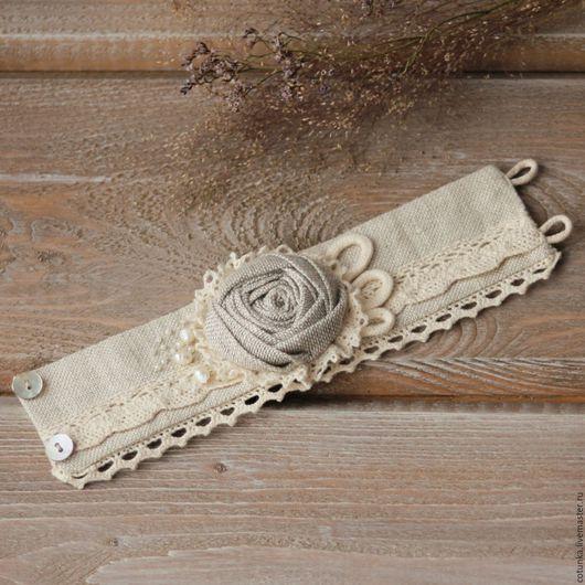 Браслеты ручной работы. Ярмарка Мастеров - ручная работа. Купить Текстильный браслет из льна в стиле бохо браслет из ткани. Handmade.