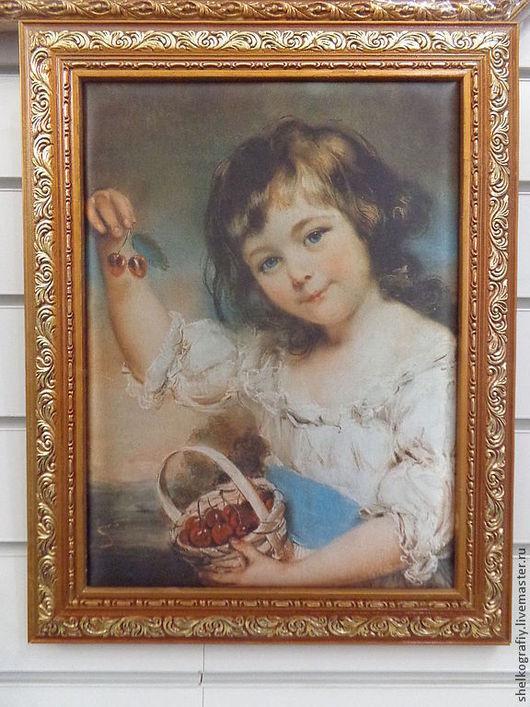"""Репродукции ручной работы. Ярмарка Мастеров - ручная работа. Купить Картина шелкография""""Девочка с вишней"""". Handmade. Картина, картина в гостиную"""