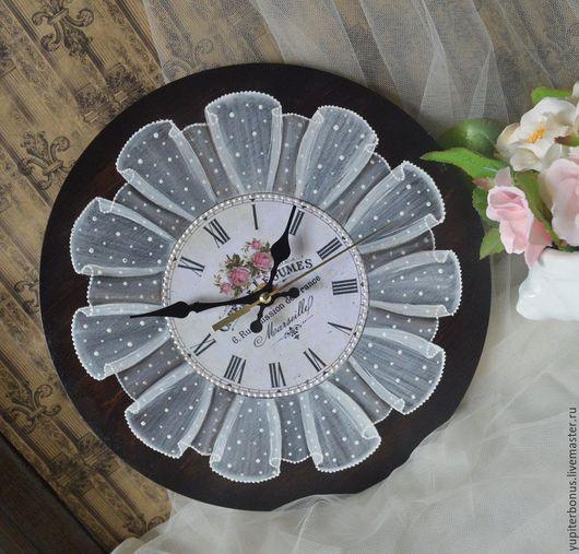 """Часы для дома ручной работы. Ярмарка Мастеров - ручная работа. Купить Часы настенные """"Цветы Марселя"""". Handmade. Коричневый"""