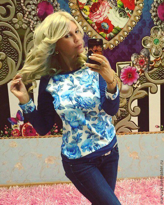 Блузки ручной работы. Ярмарка Мастеров - ручная работа. Купить Свитшот- Ледяной цветок. Handmade. Тёмно-синий, свитшот