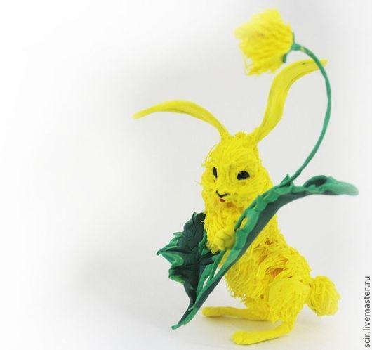 """Игрушки животные, ручной работы. Ярмарка Мастеров - ручная работа. Купить Фигурка """"солнечный зайчик"""" (жёлтый, солнечный заяц с одуванчиком). Handmade."""