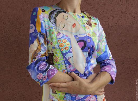 """Верхняя одежда ручной работы. Ярмарка Мастеров - ручная работа. Купить Батик- пальто летнее """"Климт. Девы"""". Handmade. Климт"""