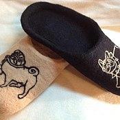 """Обувь ручной работы. Ярмарка Мастеров - ручная работа Тапки домашние """"Мопсомания"""". Handmade."""